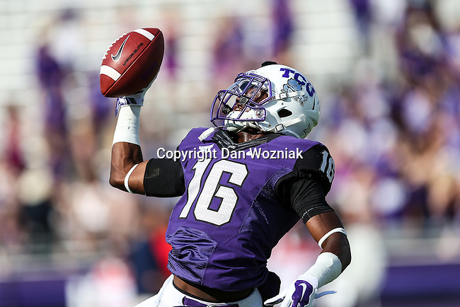 TCU Horned Frogs defensive back Torrance Mosley (16) in action during the game between the Samford Bulldogs and the TCU Horned Frogs at the Amon G. Carter Stadium in Fort Worth, Texas.  TCU leads Stamford 24 to 7 at halftime.