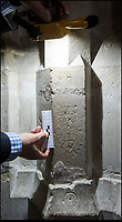 BNPS.co.uk (01202 558833)<br /> Pic: PhilYeomans/BNPS<br /> <br /> 'Witches marks' were used near the alter to trap demons in their concentric rings.<br /> <br /> Salisbury Cathedral has taken the unusual step of launching 'Grafitti Tours' of it's 800 year old building, as part of a three year project to document the thousands of examples of centuries-old 'graffiti' which adorn the walls of the 13th century cathedral.<br /> <br /> The inside of the Cathedral in Wiltshire is covered in markings etched into its fabric by fervent, desperate or just bored visitors ranging from simple inscriptions to more intricate designs used to ward off evil spirits.  <br /> <br /> Cathedral guide Steve Dunn intends to record all the marks or 'graffiti' which in some cases date back from when the cathedral was completed in 1258.<br /> <br /> Helped by about 60 volunteers, he is collating images of the graffiti and researching the story behind them.<br /> <br /> There are so-called Hexfoil or witches' marks - compass drawn circles with propeller like shapes inside them - which were designed to 'catch' demons.<br /> <br /> It was believed that the demons' curiosity and stupidity would lead them to enter the circles where they would be trapped and forced to be preached at forever.