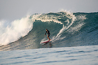 Nemberala Beach Resort, Rote, Indonesia. (Monday, September 25 2017) Felipe Pomar - The surf had jumped overnight and was a solid 6'-8' with larger sets this morning. Guests surfed early before the tide filled in. The winds  stayed light early before turning Southerly and getting stronger during the day.. Photo: joliphotos