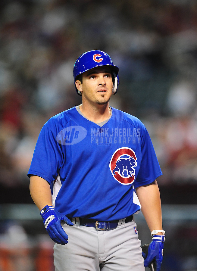 Apr. 2, 2010; Phoenix, AZ, USA; Chicago Cubs shortstop Ryan Theriot against the Arizona Diamondbacks at Chase Field. Mandatory Credit: Mark J. Rebilas-