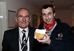 Cecil Jack, Elgin director presenting me with a special pie after the game
