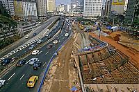 Obras de construçao do Metro no Vale do Anhangabau. Sao Paulo. 1988. Foto de Juca Martins.