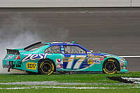 Winner Matt Kenseth (#17) celebrates with donuts and burnouts.
