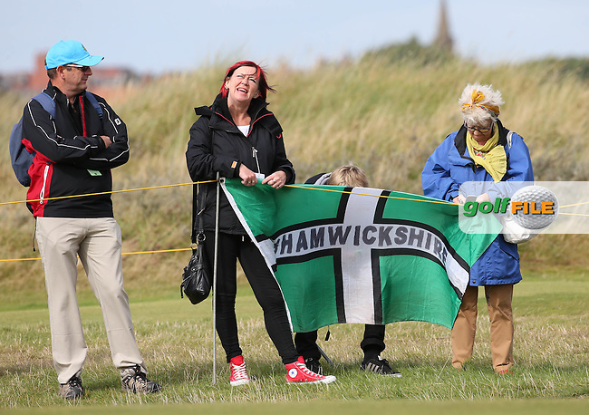 Devonian support for Jimmy Mullen (ENG) during Sunday morning Foursome matches of The Walker Cup 2015 played at Royal Lytham and St Anne's, Lytham St Anne's, Lancashire, England. 13/09/2015. Picture: Golffile | David Lloyd<br /> <br /> All photos usage must carry mandatory copyright credit (&copy; Golffile | David Lloyd)