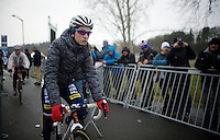 Pauline Ferrand-Prevot (FRA/Rabobank-Liv) arriving at the start all duffled in so not to get cold in the freezing temperatures<br /> <br /> Elite Women's Race<br /> <br /> 2015 UCI World Championships Cyclocross <br /> Tabor, Czech Republic