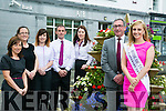 Launching the International Business Women's Conference at the Rose Hotel which will be held on Monday 22nd of August. sponsored by AIB Bank. l-r  Elaine Tierney, Sarah O'Regan, Sarah Leahy, Eddie Bowler, Oonagh Harrington  Joe Shanahan, Manager AIB and The Rose of Tralee Elysha Brennan