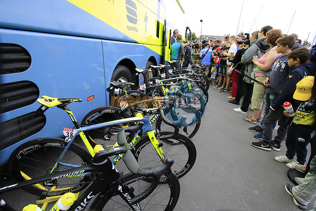 Tinkoff team Specialized bikes at the team bus before the start of Stage 3 of the 2016 Tour de France, running 223.5km from Granville to Angers, France . 4th July 2016.<br /> Picture: Eoin Clarke | Newsfile<br /> <br /> <br /> All photos usage must carry mandatory copyright credit (&copy; Newsfile | Eoin Clarke)