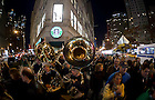 The Notre Dame band leaves the pep rally at Lincoln Center in New York City...Photo by Matt Cashore/University of Notre Dame