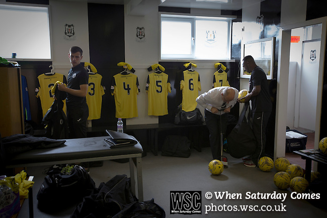 Elgin City 3 Edinburgh City 0, 13/08/2016. Borough Briggs, Scottish League Two. Backroom staff prepare the kit in the away dressing room at Borough Briggs, home to Elgin City, on the day they played SPFL2 newcomers Edinburgh City. Elgin City were a former Highland League club who were elected to the Scottish League in 2000, whereas Edinburgh City became the first club to gain promotion to the League by winning the Lowland League title and subsequent play-off matches in 2015-16. This match, Edinburgh City's first away Scottish League match since 1949, ended in a 3-0 defeat, watched by a crowd of 610. Photo by Colin McPherson.