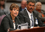 Nevada State Health Officer Dr. Tracey Green and Richard Whitley, with the Division of Public and Behavioral Health, testify in committee at the Legislative Building in Carson City, Nev., on Wednesday, Feb. 4, 2015. <br /> Photo by Cathleen Allison