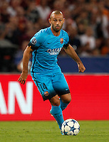 Calcio, Champions League, Gruppo E: Roma vs Barcellona. Roma, stadio Olimpico, 16 settembre 2015.<br /> FC Barcelona&rsquo;s Javier Mascherano in action during a Champions League, Group E football match between Roma and FC Barcelona, at Rome's Olympic stadium, 16 September 2015.<br /> UPDATE IMAGES PRESS/Riccardo De Luca<br /> <br /> *** ITALY AND GERMANY OUT ***
