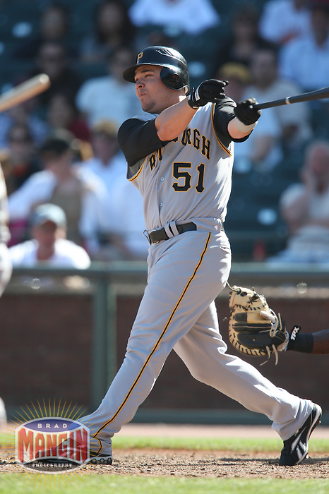 SAN FRANCISCO - SEPTEMBER 7:  Steve Pearce of the Pittsburgh Pirates bats during the game against the San Francisco Giants at AT&T Park in San Francisco, California on September 7, 2008.  The Giants defeated the Pirates 11-6.  Photo by Brad Mangin