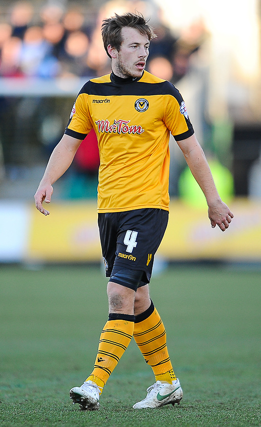 Newport County's Max Porter in action during todays match  <br /> <br /> Photographer Craig Thomas/CameraSport<br /> <br /> Football - The Football League Sky Bet League Two - Newport County v Shrewsbury Town - Saturday 31st January 2015 - Rodney Parade - Newport<br /> <br /> &copy; CameraSport - 43 Linden Ave. Countesthorpe. Leicester. England. LE8 5PG - Tel: +44 (0) 116 277 4147 - admin@camerasport.com - www.camerasport.com