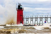 64795-02404 South Haven Lighthouse with high waves crashing South Haven,  MI