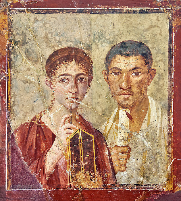Roman fresco wall painting portrait of a baker, Terentius, and his wife in the pose of intellectuals, their expressions capture the sense of a real moment that connects with the viewer in a direct realistic way , Pompeii VII 2,6 , inv 9058 , Naples National Archaeological Museum