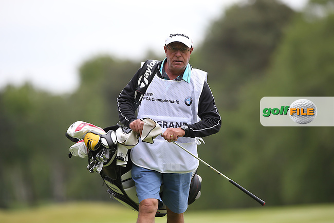 Damien McGrane (IRL) caddie Peter Futcher during Round Two of the 2015 BMW PGA Championship over the West Course at Wentworth, Virginia Water, London. 22/05/2015Picture David Lloyd, www.golffile.ie.