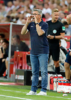 Trainer Urs Fischer   schreiend      <br /> /   2.Bundesliga  DFL /  2018/2019 / 13.08.2018 / 1.FC Koeln vs. 1.FC Union Berlin FCU /      <br />    <br /> DFL regulations prohibit any use of photographs as image sequences and/or quasi-video.<br />  *** Local Caption *** &copy; pixathlon<br /> Contact: +49-40-22 63 02 60 , info@pixathlon.de