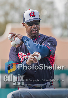 19 March 2015: Atlanta Braves third base coach Bo Porter tosses batting practice prior to a Spring Training game against the Miami Marlins at Champion Stadium in the ESPN Wide World of Sports Complex in Kissimmee, Florida. The Braves defeated the Marlins 6-3 in Grapefruit League play. Mandatory Credit: Ed Wolfstein Photo *** RAW (NEF) Image File Available ***