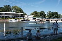 """Henley on Thames, United Kingdom, 2nd July 2018, Monday,   """"Henley Royal Regatta"""",  view, """"Subition High School"""" entered in, """"The Diamond Jubilee Challenge Cup.  Pass the, """"viewing platform"""" and the, """"Phyliss Court Club, Grandstand"""", Henley Reach, River Thames, Thames ValleyEngland, © Peter SPURRIER,"""