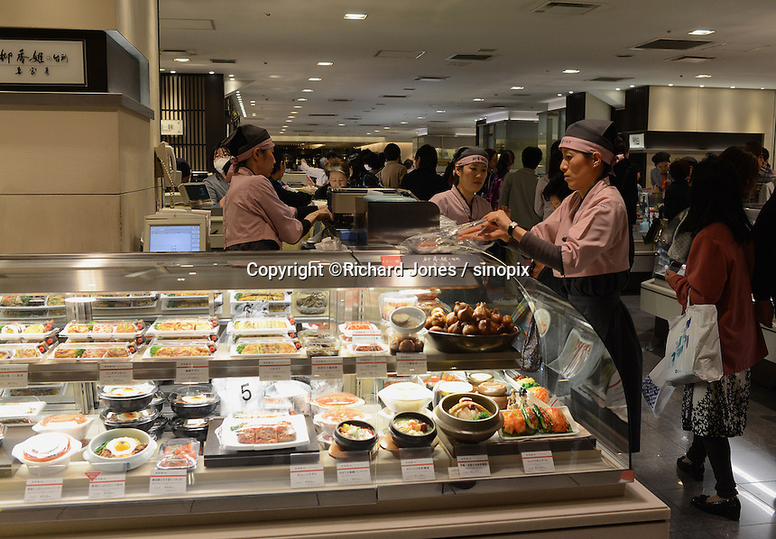 Isetan department store's food court sells beautifully presented various food at Isetan department store, Shinjuku