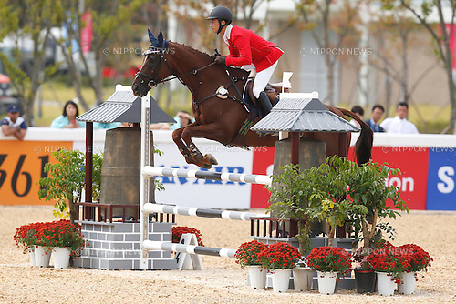 Toshiyuki Tanaka (JPN), <br /> SEPTEMBER 26, 2014 - Equestrian : <br /> Eventing Individual Jumping <br /> at Dream Park Equestrian Venue <br /> during the 2014 Incheon Asian Games in Incheon, South Korea. <br /> (Photo by AFLO SPORT)