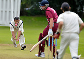 Cricket Scotland Scottish Cup Final - Watsonians CC V Heriots CC at Titwood - Glasgow - Heriots bowler Sean Weeraratna takes what he thought was a good caught and bowled but was adjudged to be a bump ball and not out - 02.9.12 - 07702 319 738 - clanmacleod@btinternet.com - www.donald-macleod.com