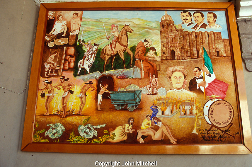 Mural in the Municipal palace depicting the history of the Spanish colonial mining town of Concordia near Mazatlan, Sinaloa, Mexico..