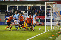Scott Cuthbert of Luton Town (orange right) celebrates after he scores his team's second goal of the game to make the score 2-1 on the night during the Sky Bet League 2 Play Off Semi Final 2 leg match between Luton Town and Blackpool at Kenilworth Road, Luton, England on 18 May 2017. Photo by David Horn.
