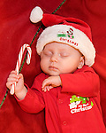 Maggie Mellott, dreaming of Santa and candy canes, first Christmas, baby, child, sleeping, Estes Park, Colorado