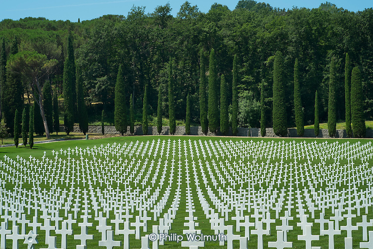 The Florence American Cemetery, Italy, site of 4,402 US Fifth Army war graves of men killed in WWII.