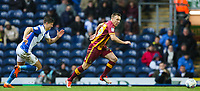Tony McMahon of Bradford City gets away from Marcus Antonsson of Blackburn Rovers during the Sky Bet League 1 match between Blackburn Rovers and Bradford City at Ewood Park, Blackburn, England on 29 March 2018. Photo by Thomas Gadd.