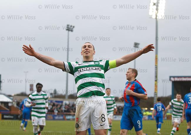 Scott Brown celebrates his penalty goal for Celtic