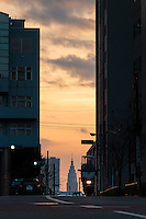 Docomo Tower at sunset, Shinjuku, Tokyo, Japan. Friday January 15th 2016