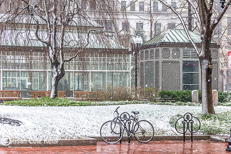 A snowy day at the Norman B. Leventhal Park at Post Office Square, Boston, Massachusetts, USA