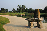 A general view of the stone statues in the bunker on 7th hole during previews for the Shot Clock Masters, Diamond Country Club, Atzenbrugg, Vienna, Austria. 06/06/2018<br /> Picture: Golffile | Phil Inglis<br /> <br /> All photo usage must carry mandatory copyright credit (&copy; Golffile | Phil Inglis)