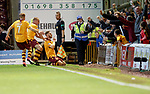 Louis Moult celebrates goal no 3 to the Motherwell fans