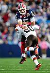 11 October 2009: Buffalo Bills' quarterback Trent Edwards is hit by Mike Adams after making a pass during a game against the Cleveland Browns at Ralph Wilson Stadium in Orchard Park, New York. The Browns defeated the Bills 6-3 for Cleveland's first win of the season...Mandatory Photo Credit: Ed Wolfstein Photo