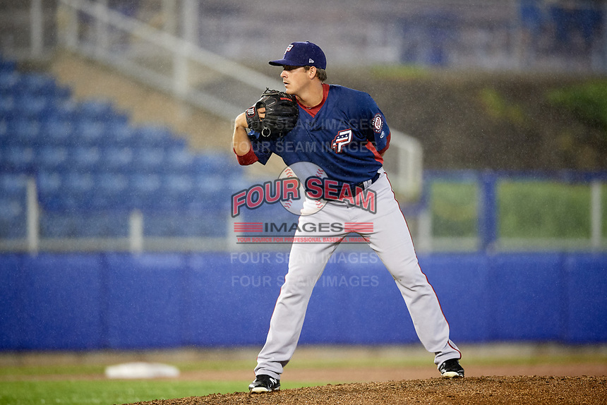 Potomac Nationals starting pitcher Ben Braymer (40) looks in for the sign during the second game of a doubleheader against the Salem Red Sox on June 11, 2018 at Haley Toyota Field in Salem, Virginia.  Potomac defeated Salem 4-0.  (Mike Janes/Four Seam Images)