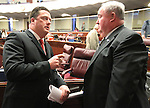 Nevada Assembly Speaker John Oceguera, D-Las Vegas, left, and Assemblyman Tom Grady, R-Yerington, talk on the Assembly floor on April 18, 2011, at the Legislature in Carson City, Nev. .Photo by Cathleen Allison