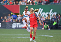 Portland, OR - Wednesday June 28, 2017: Desiree Scott, Lindsey Horan during a regular season National Women's Soccer League (NWSL) match between the Portland Thorns FC and FC Kansas City at Providence Park.