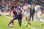 Real Madrid's Dani Ceballos and Theo Hernandez and Fiorentina's Marco Benassi during XXXVIII Santiago Bernabeu Trophy at Santiago Bernabeu Stadium in Madrid, Spain August 23, 2017. (ALTERPHOTOS/Borja B.Hojas)