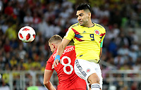 MOSCU - RUSIA, 03-07-2018: Radamel FALCAO GARCIA (Der) jugador de Colombia disputa el balón con Jordan HENDERSON (Izq) jugador de Inglaterra durante partido de octavos de final por la Copa Mundial de la FIFA Rusia 2018 jugado en el estadio del Spartak en Moscú, Rusia. / Radamel FALCAO GARCIA (R) player of Colombia fights the ball with Jordan HENDERSON (L) player of England during match of the round of 16 for the FIFA World Cup Russia 2018 played at Spartak stadium in Moscow, Russia. Photo: VizzorImage / Julian Medina / Cont