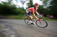 Tony Gallopin (FRA/Lotto-Soudal) descending the Col de Chaussy (C1/1533m/14.4km@6.3%)<br /> <br /> stage 19: St-Jean-de-Maurienne - La Toussuire / Les Sybelles   (138km)<br /> Tour de France 2015