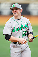 Brenden Wells (27) of the Marshall Thundering Herd prior to the game against the Wake Forest Demon Deacons at Wake Forest Baseball Park on February 17, 2014 in Winston-Salem, North Carolina.  The Demon Deacons defeated the Thundering Herd 4-3.  (Brian Westerholt/Four Seam Images)