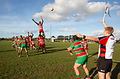 Joseva Talacolo goes high at front of a lineout to try and disrupt Luke Rosa's throw. Counties Manukau Premier 1 Club Rugby game between Karaka and Waiuku, played at the Karaka Sports Park on Saturday May 11th 2019. Karaka won the game 33 - 14 after leading 14 - 7 at halftime.<br /> Photo by Richard Spranger.