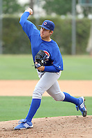 Austin Reed of the Chicago Cubs pitches in an exhibition game against the Langley Blaze of the British Columbia Premier League at Fitch Park, the Cubs minor league complex, on March 21, 2011  in Mesa, Arizona. .Photo by:  Bill Mitchell/Four Seam Images.