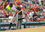 19 May 2012: Baltimore Orioles outfielder Adam Jones rounds third after hitting a home run during game action against the Washington Nationals at Nationals Park in Washington, DC. The Orioles defeated the Nationals 6-5 in the second game of their 3-game series. Mandatory Credit: Ed Wolfstein Photo