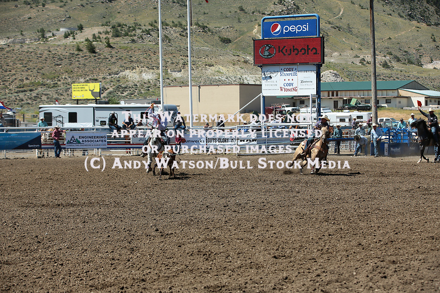 Corey Whinnery, Derek Pake Younger, during the 7/01 slack performance of the Cody PRCA rodeo. Photo by Andy Watson. All Photos (C) Watson Rodeo Photos, INC. Any use must have written Permission.
