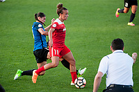 Kansas City, MO - Saturday May 27, 2017: Brittany Taylor, Mallory Pugh during a regular season National Women's Soccer League (NWSL) match between FC Kansas City and the Washington Spirit at Children's Mercy Victory Field.