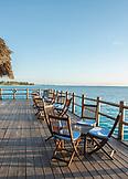 ZANZIBAR, Nungwi Beach, Chairs of the 'on the water bar' in Gema Resort